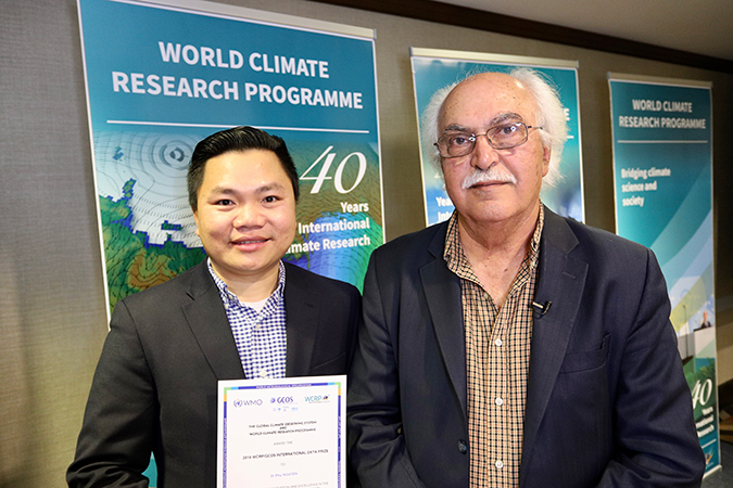 "Phu, left, and Sorooshian, who nominated Phu for his ""remarkable scholarship and talent in the development of user-friendly climate databases."""