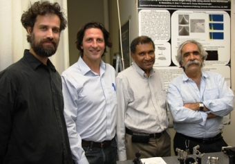 From left: Potma, Capolino, Wickramasinghe and Apkarian collaborated on a $2 million grant (Photo by Bill Ross)