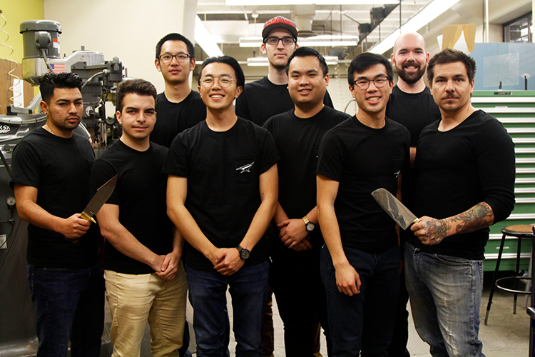 1.	UCI's first-ever bladesmithing team includes, back row, from left:  Warren Zhang, Jaelen Hoffman, Benjamin MacDonald. Front row, from left: Fernando Robledo, Jonathan Medrano, Harry Pak, Vandy Bui and Calvin Belcher. Team mentor Tucker Parris is at far right.