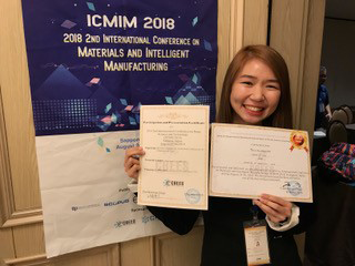Lee presented her team's paper at ICNST 2018; the International Conference on Materials and Intelligent Manufacturing was held simultaneously.