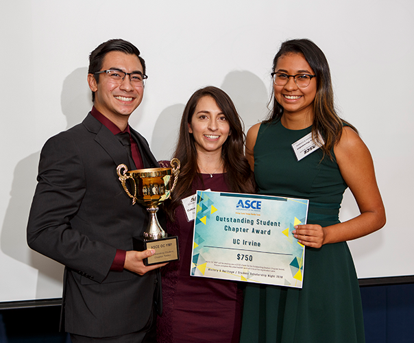 UCI civil engineering undergraduates Raul Rodriguez (left) and Darlyn Hernandez (right) flank engineer Gabreelle Gonzalez after winning the Outstanding Student Chapter award at the ASCE History and Heritage/Student Scholarship Night.