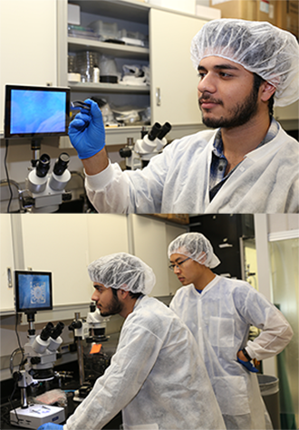 Top: Mechanical and aerospace engineering graduate student Daryosh Vatanparvar holds a 2D gyroscope prototype made from fused quartz. Bottom: Vatanparvar and fellow graduate student Yusheng Wang examine the prototype under a microscope.
