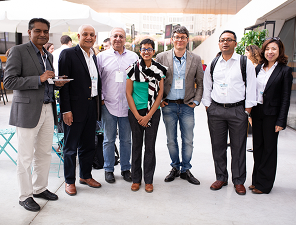 UCI attendees at the sixth annual workshop included: from left, professors R. Jayakrishnan, Pramod Khargonekar, Faryar Jabbari, Aparna Chandramowlishwaran, Marco Levorato and Mohammad al Faruque, pictured with Lily Wu, Samueli School director of academic