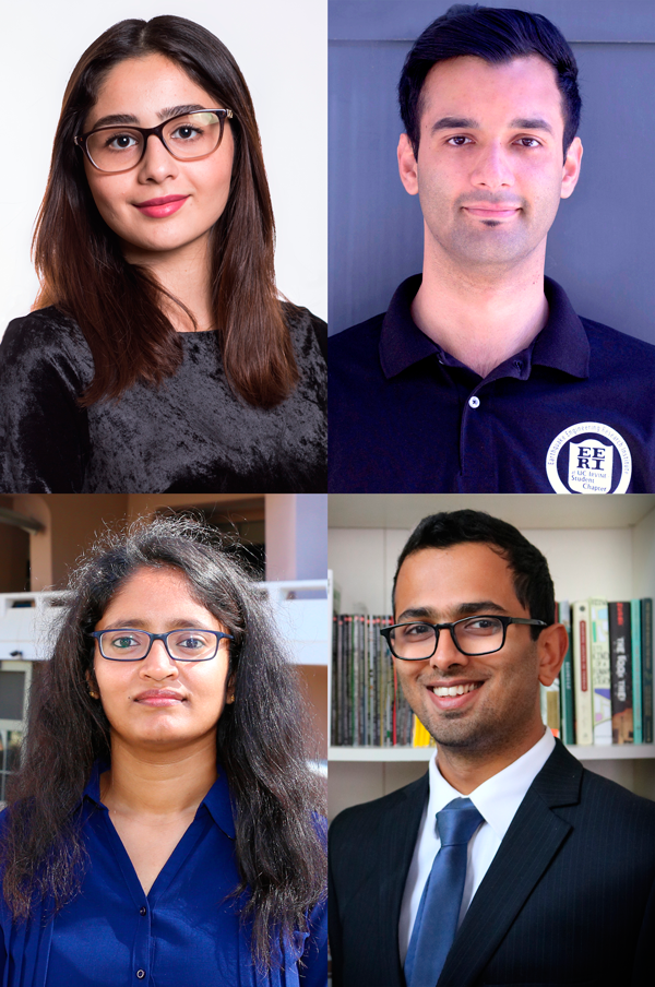 Pictured, clockwise from top left, are Samueli School graduate students Maryam Asghari, Jawad Fayaz, Anirudh Krishna, and Mounika Kodali.