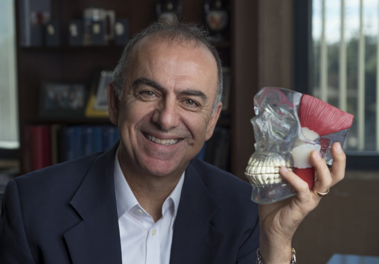 """The TMJ is central to chewing, talking and so many other daily activities, so when this crucial joint is impaired, there are significant negative effects on quality of life,"" says Kyriacos A. Athanasiou, UCI Distinguished Professor of biomedical engineering and senior author on a recent paper detailing innovative biological TMJ discs developed in his laboratory. Steven Zylius / UCI"