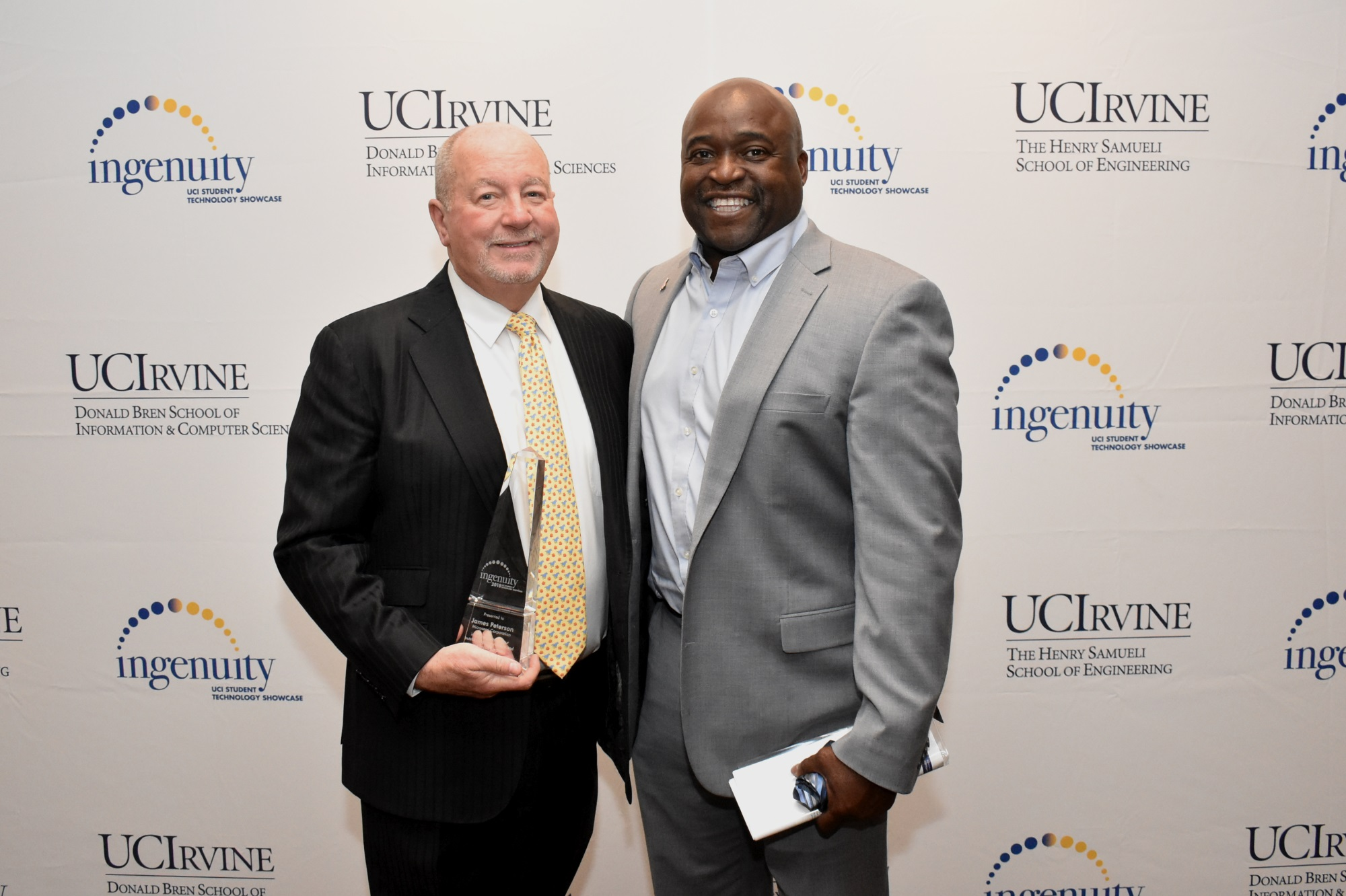 Dean Gregory Washington and Engineering Ingenuity Award winner James Peterson.