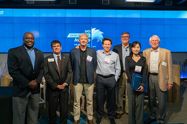 From left to right: Gregory Washington, Enrique Lavernia, Christopher C.W. Hughes, Elliot Botvinick, Richard Sudek, Mo Li and Don Beall.