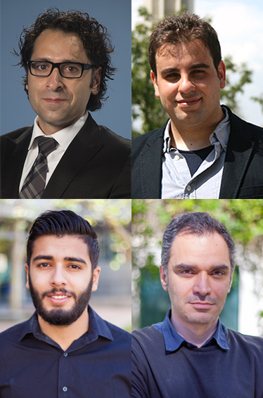 Pictured, clockwise, are Samueli School Assistant Professor Zak Kassas and graduate students Joe Khalife, Mohammad Neinavaie and Ali Abdallah, all will be recognized for their research at the IEEE/PLANS conference.