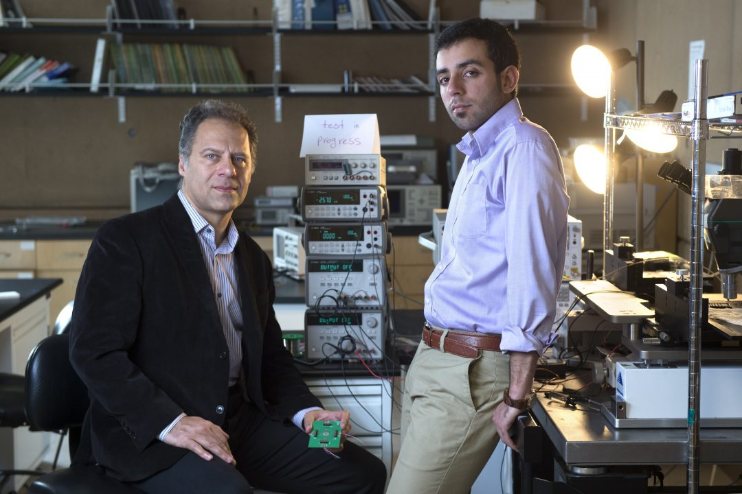 UCI professor of electrical engineering & computer science Payam Heydari (left) and grad student researcher Peyman Nazari have engineered a circularly polarized radiating element that could have widespread applications. Steve Zylius / UCI