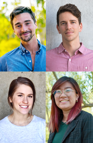 This year's NSF Graduate Research Fellows are, clockwise, Andrew Rowley, Bryce Wilson, Kimmai Phan and Courtney Kay Carlson.