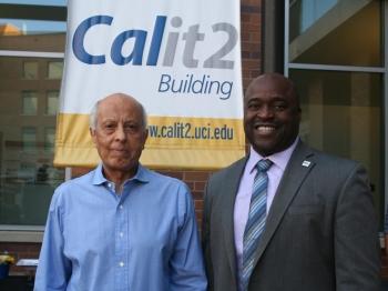 Professor Said Elghobashi with Samueli School Dean Gregory Washington