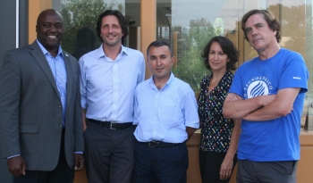 From Left: Samueli School Dean Gregory Washington, Filippo Capolino, Ozdal Boyraz, Regina Ragan and Marc Madou