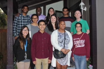 Nine engineering students joined Lou Gill and Dean Gregory Washington for family-style dinner.