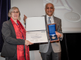 Ljiljana Trajković, professor of engineering at Simon Fraser University, presented the IEEE award to Khargonekar on behalf of the organization's Board of Directors.