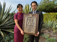 ION president Jade Morton, University of Colorado aerospace engineering professor and previous Thurlow Award winner, presented Kassas with the engraved plaque.