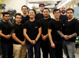 1.	UCI's first-ever bladesmithing team includes, back row, from left:  Warren Zhang, Jaelen Hoffman, Benjamin MacDonald. Front row, from left: Fernando Robledo, Jonathan Medrano, Harry Pak, Vandy Bui and Calvin Belcher. Team mentor Tucker Parris is at far