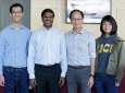 The team working on the new cellular electrophysiological purification arrays includes, from left: Biopico's chief engineer Henry Wong; John Collins, company president and CEO; Samueli School professor William Tang and doctoral student Joanne Ly.