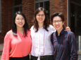 Lin, Herrera and Chen (from left) say they gained valuable skills by participating in internships at local companies during their doctoral studies.