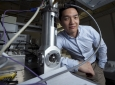 Jaeho Lee, UCI assistant professor of mechanical & aerospace engineering, believes that holey silicon – microchip material vertically etched with nanoscale orifices – might be a breakthrough in the quest to keep modern electronics cool. Steve Zylius / UCI
