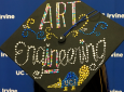 Student speaker Katie Tran's mortarboard sums up her message to fellow graduates