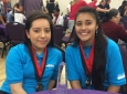 UCI MESA center participants Azucena Castro (left) and Jennifer Barrientos won national MESA competition