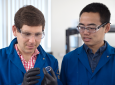 Alon Gorodetsky (left) and Chengyi Xu are developing the next generation of high-tech bioinspired camouflage systems. Steve Zylius / UCI