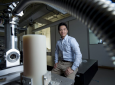 Jaeho Lee's nanomaterials lab at UCI features a customized vacuum chamber that allows samples to be heated to enormous temperatures. By doing so, he can determine whether the substances have suitable thermoelectric properties. Steve Zylius / UCI