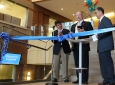 From left: UCI Provost Enrique Lavernia, Microsemi CEO Jim Peterson and Calit2 Director G.P. Li prepare to cut the ribbon officially opening the Microsemi Innovation Lab at Calit2