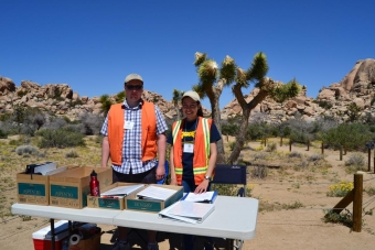 Alma Carrillo and Andrew Timothy gather transportation data at Joshua Tree National Park