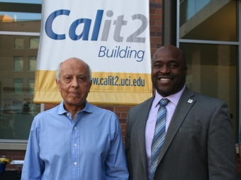 Professor Said Elghobashi with Samueli School Dean Gregory Washington