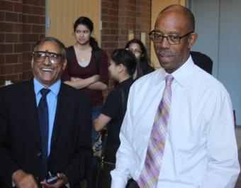 Farghalli Mohamed with UCI Chancellor Michael Drake