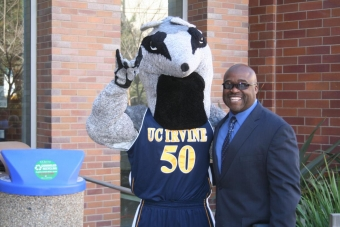 Dean Gregory Washington with Peter the Anteater