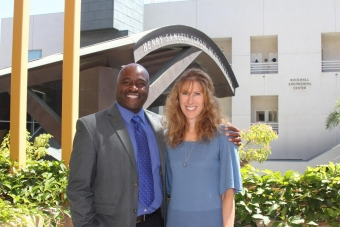 Stacey Nicholas with Samueli School Dean Gregory Washington