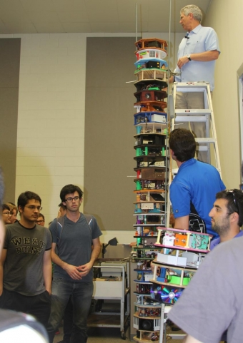 Professor Derek Dunn-Rankin builds music box tower