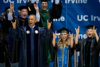Turning a special day into a historic event, President Barack Obama addressed more than 6,000 graduating UC Irvine students and 30,000 family members and friends at a commencement ceremony Saturday, June 14, at Angel Stadium of Anaheim. photo: Steve Zylius/UC Irvine Communications
