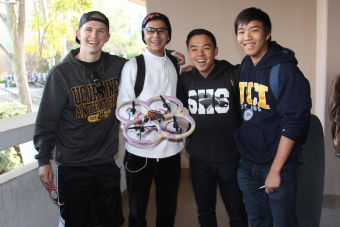 First place quadcopter team shows off the winning copter