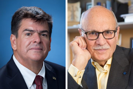 Samueli School Distinguished Professors Enrique Lavernia (left) and Diran Apelian were recognized with 2021 ASM Awards for achievement and teaching, respectively.