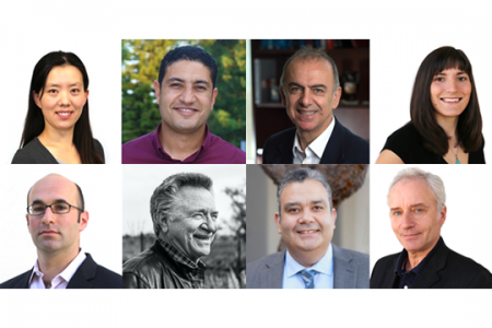Samueli School Interim Dean Michael Green recognized the 2021 Faculty Award winners in June. Pictured, top row from left, are Han Li, Haithem Taha, Kerry Athanasiou and Christine King; bottom row from left, are Allon Hochbaum, Mike McCarthy, Ahmed Eltawil and Dimitri Papamoschou.