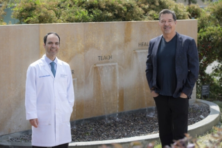 A one-on-one matching $1 million challenge gift from Brian Fargo will fund the next stages of research for an innovative implantable device being developed by a UCI multidisciplinary team led by Dr. Hamid Djalilian, professor of otolaryngology in the School of Medicine and director of otology, neurotology and skull base surgery for UCI Health, to treat tinnitus. Steve Zylius / UCI