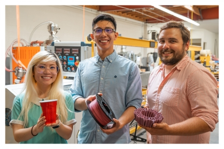 UCI startup Closed Loop Plastics co-founders Sharon To, Aldrin Lupisan and Will Amos inside their facility in Long Beach show the transformation of single-use plastics to 3D printed materials.