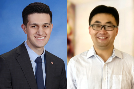 Recent EECS graduate Armand Ahadi-Sarkani (left) earned the ACM SIGBED Gold Award for student research on advanced driver assistance systems.EECS graduate student Xiaowu Sun's research earned a finalist award for provably safe reinforcement learning.