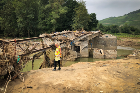 Anne Lemnitzer inspects damaged bridge in Walporzheim, Germany, after record rainfall and deadly flooding swept through Western Europe in mid-July 2021. Photo credit: Anne Lemnitzer