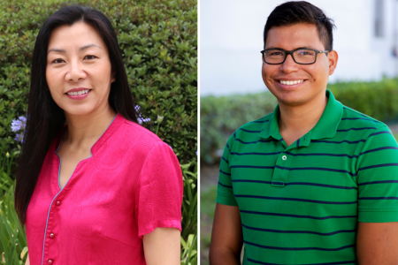 Sunny Jiang (left) and Christopher Olivares are leading the Department of Civil and Environmental Engineering's efforts in the UCI Black Thriving Initiative Faculty Cluster Hiring Program.