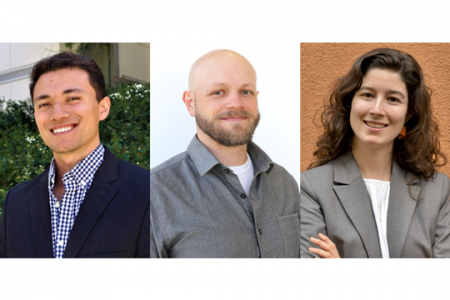 The UC Irvine Graduate Division awarded dissertation fellowships to three engineering graduate students, Austin Lefebvre, Paul Marsh and Irene Martinez, for the 2021-22 academic year