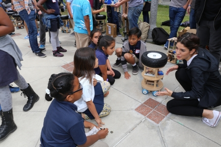Webster Elementary School children visit UC Irvine's Samueli School of Engineering for a first hand look at some rolling robots.