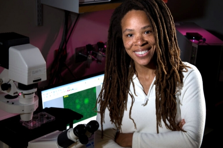 """""""It's close to helping people … probably in 10 to 15 years,"""" says UCI biomedical engineer Ronke Olabisi about her tissue engineering research. UCI"""